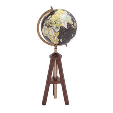 Wood and Metal Globe with Meridian and Brass Plating