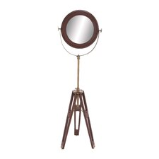 Wood Round Floor Mirror