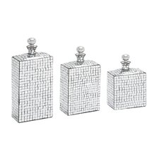 3 Piece Metal Mosaic Mirror Bottle Figurine Set