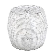 Drum Shaped Metal Mirror Mosaic Stool