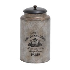 <strong>Woodland Imports</strong> Metal and Wood Galvanized Canister with Vintage Label