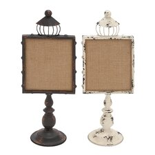 <strong>Woodland Imports</strong> Metal Wood Note Holders (Set of 2)