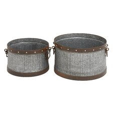 <strong>Woodland Imports</strong> 3 Piece Metal Galvanized Bucket Set