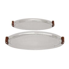 2 Piece Oval Serving Tray Set