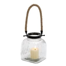 <strong>Woodland Imports</strong> Vintage Canning Jar Glass and Rope Lantern