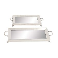 <strong>Woodland Imports</strong> 2 Piece Stainless Steel Serving Tray Set
