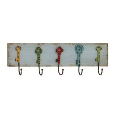 Captain Key Styled Wood and Metal Coat Rack