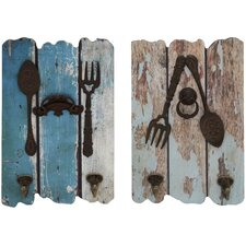 2 Piece Wood and Metal Wall Hooks Set