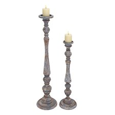 2 Piece Wooden Candlesticks Set