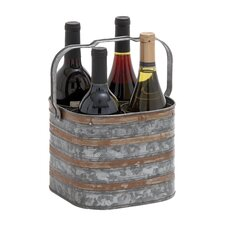 <strong>Woodland Imports</strong> Rustic Metal 4 Bottle Holder