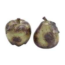 2 Piece Ceramic Pear and Apple Décor Sculpture Set