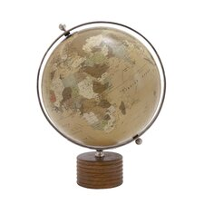 Metal and Plastic Globe with Wooden Stand