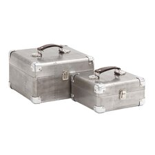 <strong>Woodland Imports</strong> 2 Piece Wooden Case Set with Leather Handles
