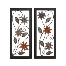 2 Piece Metal Assorted Wall Décor Set with Floral Carving