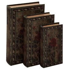 3 Piece Decorative Wood Fabric Book Box Set