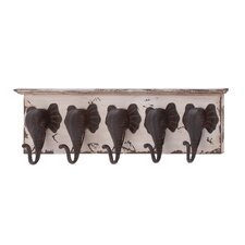 Wood and Metal Elephant Wall Hooks