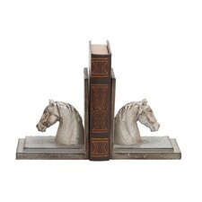 Polystone Horse Head with Wood Book Ends (Set of 2)