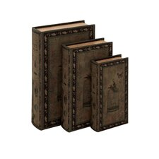 <strong>Woodland Imports</strong> 3 Piece Decorative Wood Fabric Book Box Set