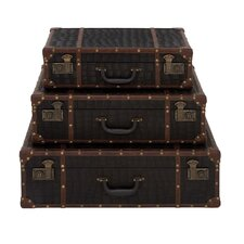 <strong>Woodland Imports</strong> 3 Piece Wood and Leather Suitcase Set