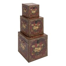 3 Piece Wooden Leather Trunk Set