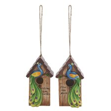 2 Piece Peacock Hanging Birdhouse Set