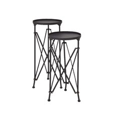 2 Piece Round Planter Stand Set