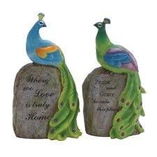 2 Piece Polystone Peacock On Stock Statue Set