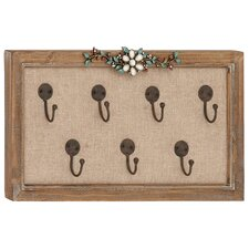 Wood Framed Floral Art Wall Hook