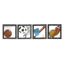 4 Piece Sporty Metal Wall Décor Set