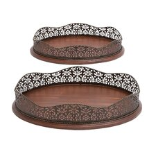 2 Piece Wood and Metal Serving Tray Set