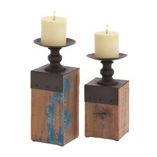 2 Piece France Country Wood and Metal Candlestick Set
