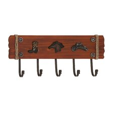 Stylish Cowboy Themed Wood and Metal Wall Hook