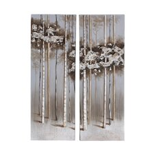 2 Piece Wooden Oil Paint Wall Décor Set