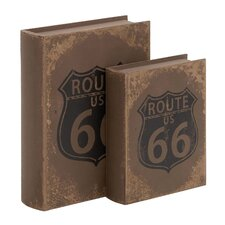 2 Piece American Inspired Route 66 Wooden Book Shaped Boxes Set