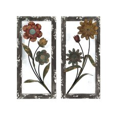 <strong>Woodland Imports</strong> 2 Piece Floral Art Wall Décor Set