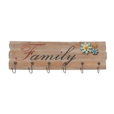<strong>Woodland Imports</strong> Family Themed Floral Metal Wooden Wall Hook