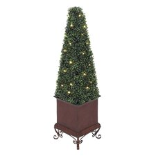 Artificial Boxwood Cone Topiary in Planter