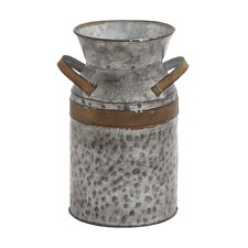 Asiatic Antique Metal Galvanized Milk Can