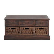 <strong>Woodland Imports</strong> Emoting Wood 6 Drawer Basket Low Chest
