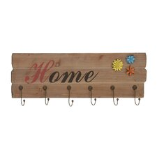 Wooden Floral Metal Wall Hook