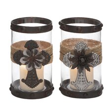 2 Piece Metal and Glass Hurricane Set