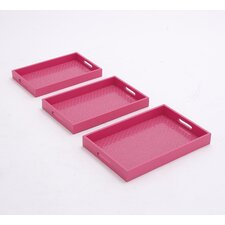 3 Piece Mulberry Wood Vinyl Serving Tray Set