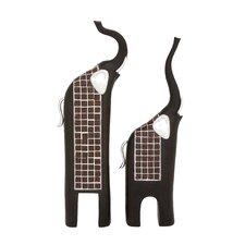 2 Piece Trumpeting Elephants Décor Statue Set