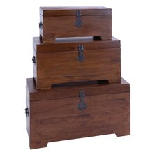 3 Piece Classy and Elegant Mahogany Wooden Trunk Set