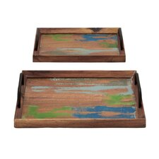 <strong>Woodland Imports</strong> 2 Piece Germanic Serving Tray Set