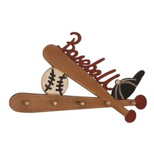 Baseball Memorabilia Wooden Coat Rack