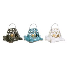 <strong>Woodland Imports</strong> Turtle Ceramic Lantern (Set of 3)