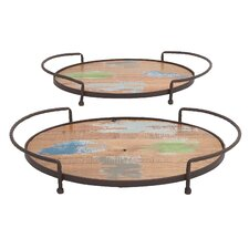 <strong>Woodland Imports</strong> 2 Piece Vertigos Serving Tray Set