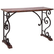 <strong>Woodland Imports</strong> Vintage Cabinet Metal Wood Console Table