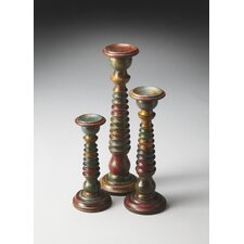 Hors D'oeuvres 3 Piece Spectrum Carved Wood Candle Holders Set (Set of 3)
